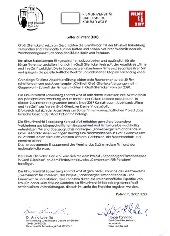 Letter of Intent Filmuniversität Babelsberg