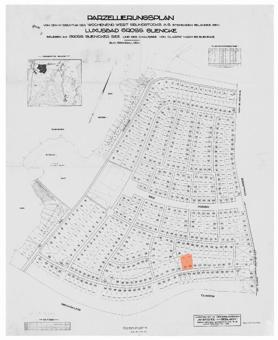 Parzellierungsplan Wochenend West mit Grundstück Massolle